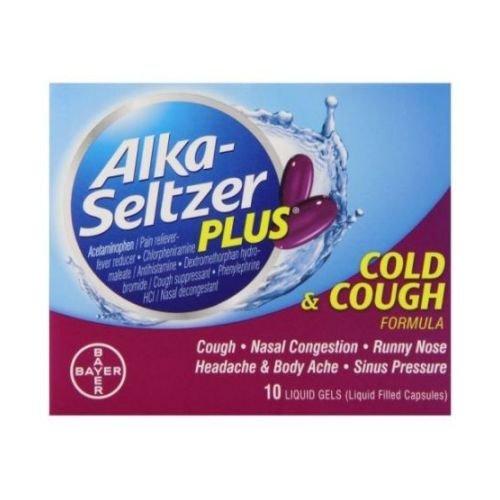 Alka Seltzer Plus Cold and Cough Liquid Gels - 10 per pack -- 24 packs per case.