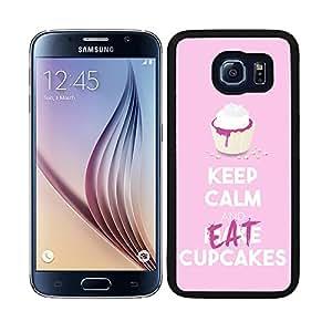 """Funda carcasa para Samsung Galaxy S6 diseño keep calm and make """"Eat"""" cupcakes rosa pastel borde negro"""