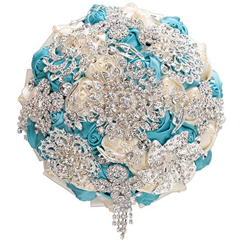 Fantastic-Journey Crystal Get Marry Wedding Bouquet Diamond Bridal Brooch Bridesmaid Bouquet Artificial Flower Ivory Blue in StockA,15CM Choose Color