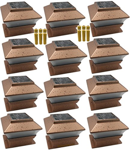 12 Pack Outdoor Garden Solar LED Copper Post Cap Fence Pathway Landscape Deck Square Light Lights + Free Bonus 12-Pack AA 600 mAH Replacement Rechargeable Batteries Bundle - X 4 Cedar 4 Post