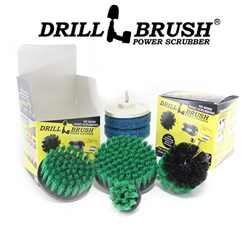 Powered Brush (Drillbrush Scrub Brush Drill Attachment Kit - Drill Powered Cleaning Brush and Pad Attachments - Time Saving Cleaning Kit Great for Kitchen, Bathroom, Cookware and Much More)