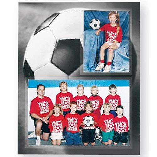 Soccer Player/Team 7x5/3.50x5 MEMORY MATES cardstock double photo frame sold in 10's - -