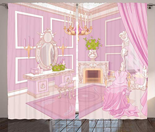 Ambesonne Teen Girls Decor Collection, Princess Dressing Room in Palace Luxurious Design with Chandelier Fireplace Design Print, Living Room Bedroom Curtain 2 Panels Set, 108 X 84 Inches, Pink Review