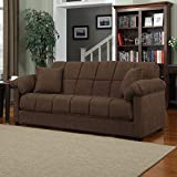 Full Sleeper Sofa - Convertible Microfiber Tufted Couch - Full Size Guest Bed - Comfortable Foam Filling - Living Room Furniture - 600 pounds Weight Capacity (Dark Brown)