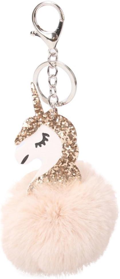 Beige Fligatto Cute Fluffy Licorne Pendentif Porte-cl/és D/écoration Accessoire