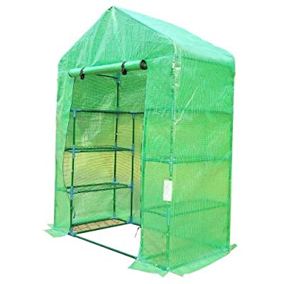 Outsunny Outdoor Portable Walk-in Greenhouse Lightweight Deck with Zippered Door