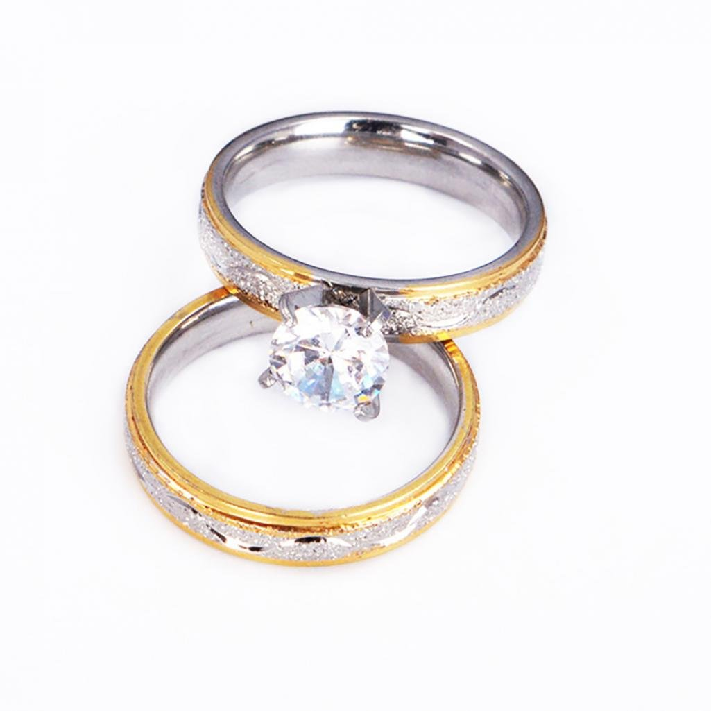 2pezzi da uomo e da donna creative CZ intarsiato di fedi amante anello nuziale set di gioielli Amesii 11 5 colore: US 6 cod. AME