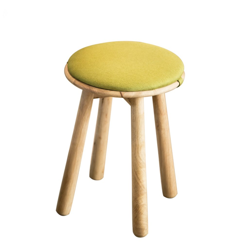 TangMengYun Nordic Cloth Solid Wooden Stool, Cushion Removable, Simple Dressing Stool Sofa Stool Meal Stool -34 34 49cm (Color : Green, Size : 3449cm)