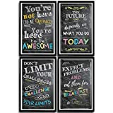 teen wall decor Motivational Posters Inspirational Wall Art Classroom Decorations - Multicolor Chalkboard Positive Quotes, Perfect for Office, Kids Room or Bathroom Art. Perfect Inspirational Gift! Set of 4 11x17in