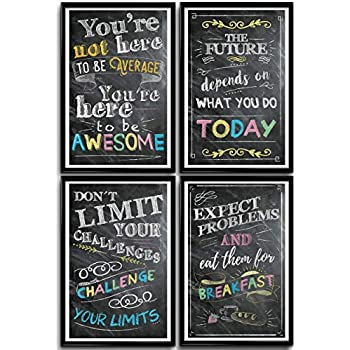Motivational Posters for Classroom & Office Decorations, Inspirational Quote Wall Art, Students, Teachers, School, Home & Office, Positive Posters, Set of 4 11x17in. Posters for Girls & Teens Decor.