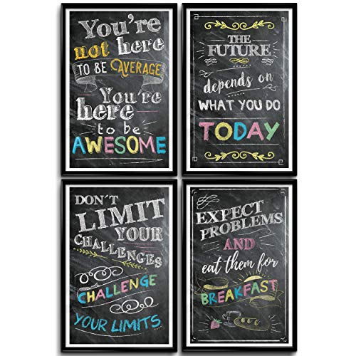 Motivational Posters for Classroom, Office Decorations, Inspirational Wall Art, Perfect for Students, Teachers, School, Kids Room & Home. Chalkboard Positive Quotes Poster Designs. Set of 4 -