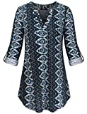 FINMYE Cuffed Sleeve Blouse, Vertical Stripe Shirts Floral Pattern Stand up Collar V Neck Aesthetic Tunic Button Decoration Pullover Chic Classic Style Casual Work Top Blue Geometric Patterns S