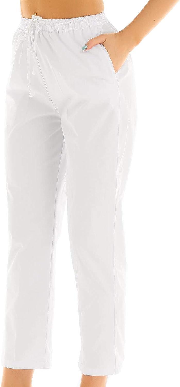 IEFIEL Unisexe Blouse Pantalon M/édical Blanc Loose Pantalon Elastique /à Cordon Pantalon Allaitement Et/é Cargo Scrub Pants S-XXL