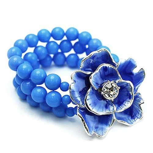 Bright Robin Egg Blue Beaded Stretch Bracelet with Metal 3d Flower