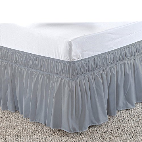 Three Sides Fabric Wrap Around Elastic Solid Bed Skirt, Easy On/Easy Off 100% Microfiber Dust Ruffled Bed Skirts- Bed Wrap with 14 Inch Tailored Drop (Full/Full XL, Light Grey)