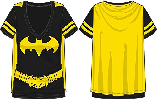 Dc Comics Batman Costume Licensed Graphic Juniors T-shirt w/ Cape, Black (Large) - Batman Batgirl Costumes