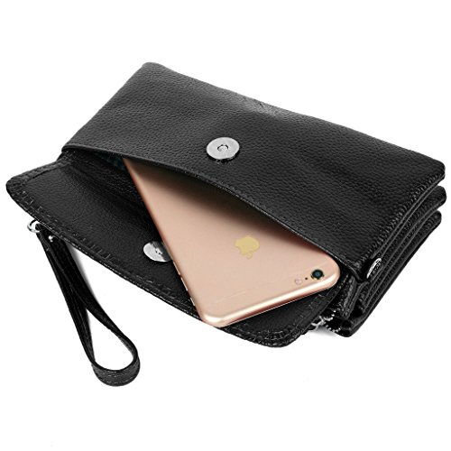 Yaluxe Women S Large Capacity Leather Wristlet Clutch With Shoulder Strap Fit Iphone 6s Plus