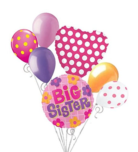 7 pc Big Sister Balloon Bouquet Welcome Home Baby Shower Girl  Congratulations
