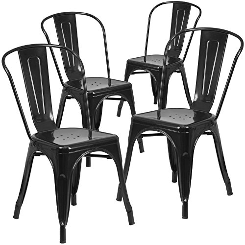 Flash Furniture 4 Pk. Black Metal Indoor-Outdoor Stackable Chair ()
