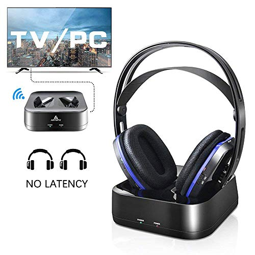Wireless TV Headphones Over Ear Headsets - Digital Stereo Headsets with 2.4GHz RF Transmitter, Charging Dock, 100ft Wireless Range and Rechargeable 20 Hour Battery TV Headphone Wireless ()