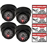 Rockmount Electronics (4 Pack) Outdoor/Indoor Dummy Security Cameras Fake Dome Surveillance Cameras Simulated Infrared LEDs with Flashing Light with (4 Pack) Security Warning Sign Decal Stickers