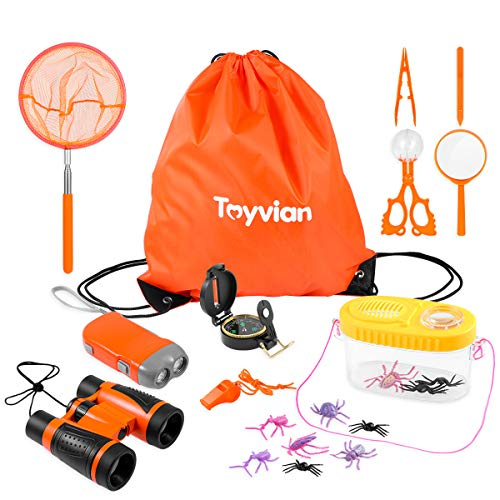 Toyvian Outdoor Adventure Kit Kids Explorer Toys 18PCS - Binoculars, Flashlight, Compass, Magnifying Glass, Whistle, Butterfly Net, Pretend Bugs and Collector, Backpack- Children Educational STEM Gift ()