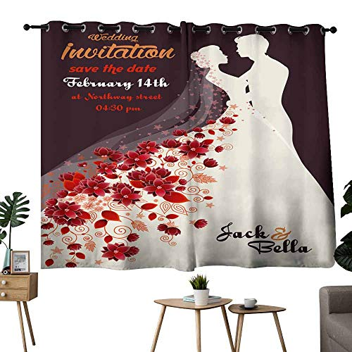 Mannwarehouse Simple Curtain Floral Wedding Invitation Darkening and Thermal Insulating 55