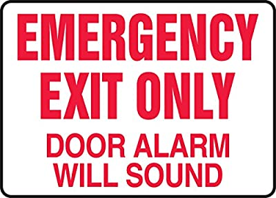 """Accuform Signs MEXT591XV Adhesive Dura-Vinyl Sign, Legend """"EMERGENCY EXIT ONLY DOOR ALARM WILL SOUND"""", 7"""" Length x 10"""" Width x 0.006"""" Thickness, Red on White"""