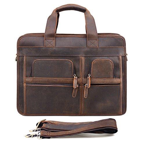 Jack&ChrisMen's Leather Briefcase Laptop Bag Messenger Shoulder Bag,NM1863 by Jack&Chris