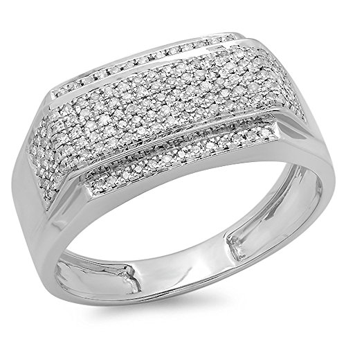 0.45 Carat (ctw) Sterling Silver White Diamond Men's Flashy Hip Hop Pinky Ring 1/2 CT (Size 11) by DazzlingRock Collection