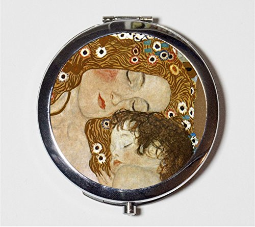 Gustav Klimt Mother and Child Compact Mirror Fine Art Nouveau Make Up Pocket Mirror for Cosmetics by Fringe Pop