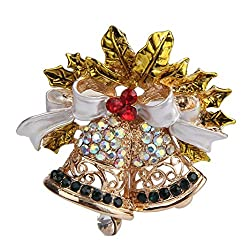 DZT1968 Gold-Toned Christmas Bell Crystal Brooch Pin exquisite brooch