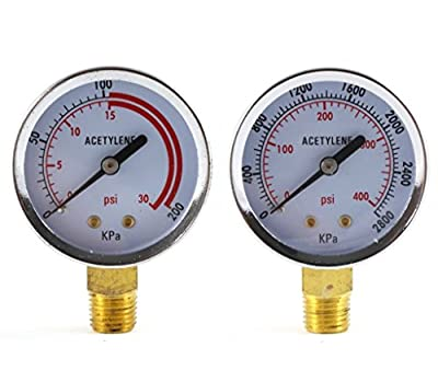 Low and High Pressure Gauges for Acetylene Regulator - 2 inches (PAIR)