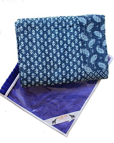 KANTHA EXPORT NEW LAUNCH Indigo Color Hand Block Printed Kantha Quilt Throw, Patchwork Cotton Bedspread Queen Size