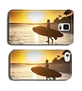 silhouette of a man with his paddle board on the beach at sunset cell phone cover case Samsung Note 4