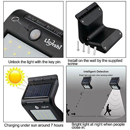 Licwshi Solar Lights 16 LED inalámbrico sensor de movimiento de agua al aire libre para patio, cubierta, jardín, jardín con activado por movimiento ...