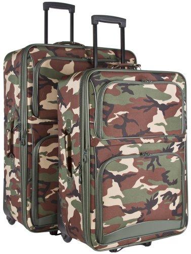 Ever Moda Camo 2-Piece Luggage Set (Green)