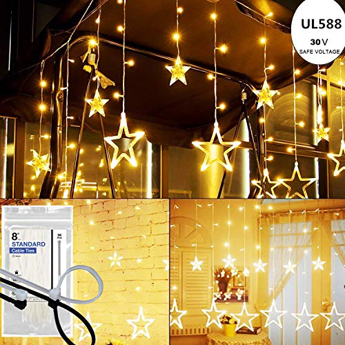 KNONEW 138 LEDs Star Curtain Lights 12 Stars (7.87ft ), Window Curtain Lights (8 Modes), String Fairy Light, LED String Light (Warm White) (Stars Up In Our Bedroom After The War)