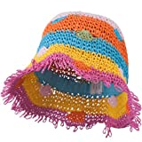 Jeanne Simmons Girl's Toyo Bucket Shaped Hat with Fringe Edge and Polka-Dot Detail - Multi Colored 54CM