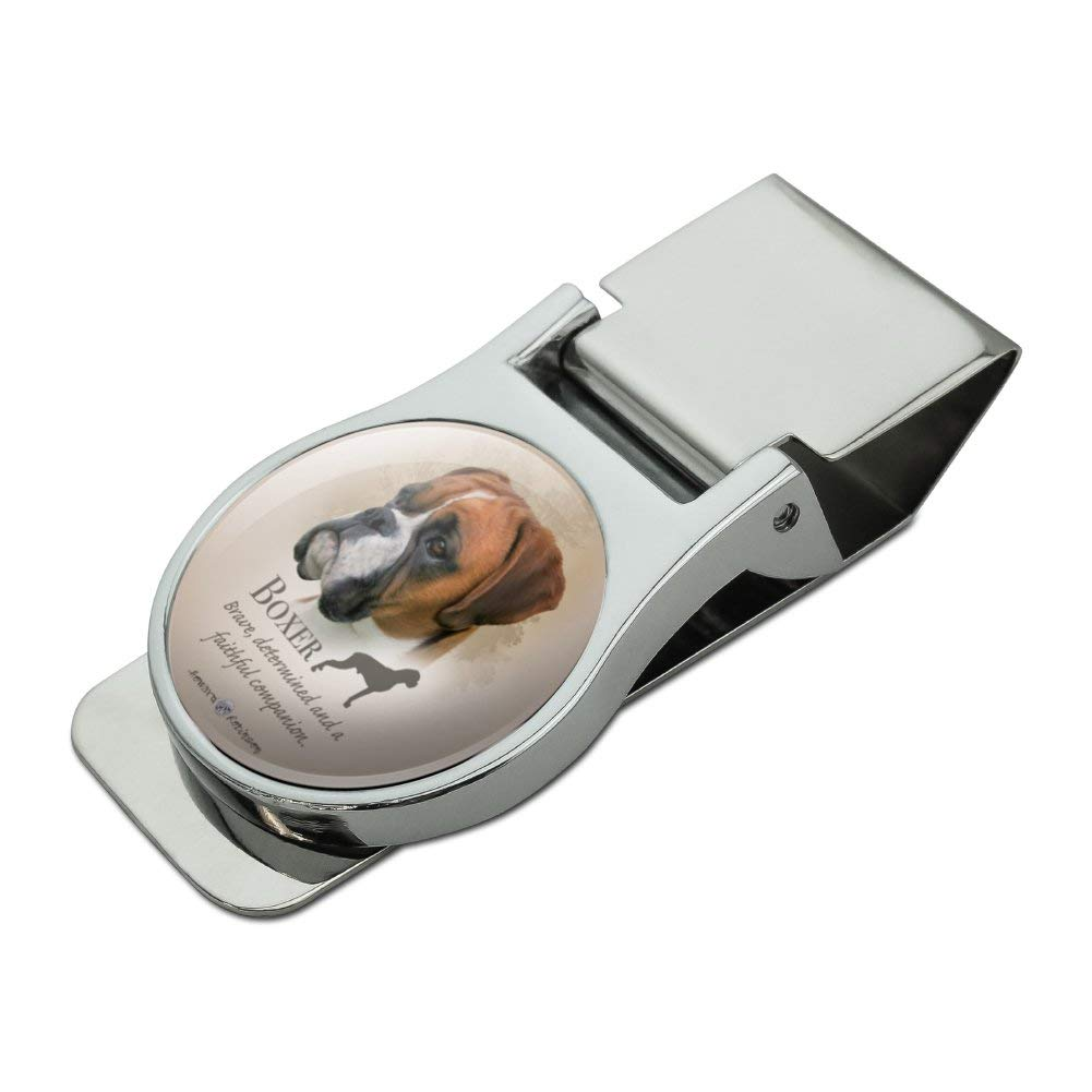 Boxer Dog Breed Satin Chrome Plated Metal Money Clip