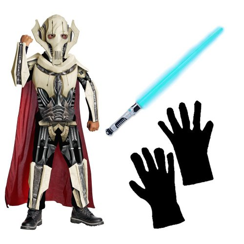 [Star Wars/General Grievous Deluxe Child Costume With Lightsaber and Gloves, (L)] (Star Wars General Grievous Child Costumes)