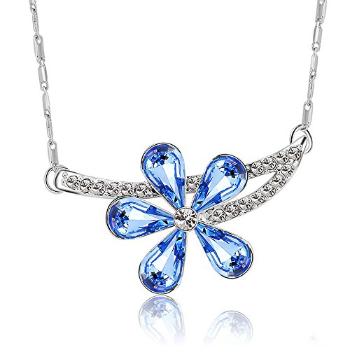 The Starry Night Light Blue Austrian Crystal Branches Flower Diamond Accented Color Crystal Silver Necklace
