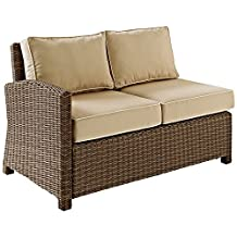Crosley Biltmore Outdoor Wicker Sectional Corner Loveseat With Sand Cushions