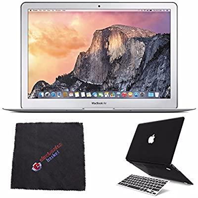 "Apple 13.3"" MacBook Air Laptop Computer 256GB (MMGG2LL/A) + 2 in 1 Soft-Touch Plastic Hard Case & Silicone Keyboard Cover for Apple Macbook Air 13-inch 13"" (Black) + Cleaning Cloth Bundle"