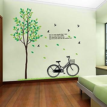 YBFQ Landhausstil Schlafzimmer Wohnzimmer Flur Große Hintergrund Wand  Dekoration Frischer Grüner Baum Fahrrad Wandsticker 60*