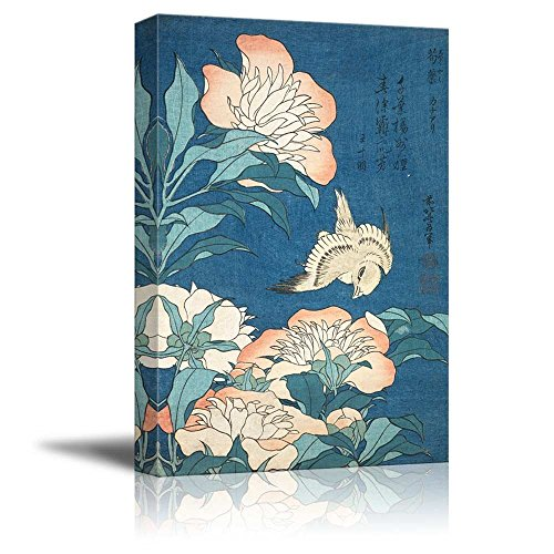 wall26 - Peonies and Canary by Katsushika Hokusai - Canvas Print Wall Art Famous Painting Reproduction - 16