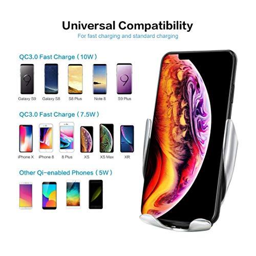 Chargeur sans Fil Voiture, Serrage Automatique 10W /7.5W /5W Chargeur de Rapide Voiture sans Fil Porte-téléphone Compatible avec iPhone XS Max/Xr/X/8/8+, Galaxy S9+/S8/S8+/S7/S6Edge/Note8/5