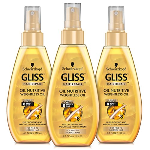 Repair Oil - GLISS Hair Repair Nutritive Oil, Weightless Treatment for Fine to Normal Hair, 5.1 Ounces (Pack of 3)