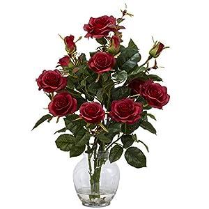 GREATHOPES Red Rose Bush w/Vase Silk Artificial Flower Decorative Arrangement 106