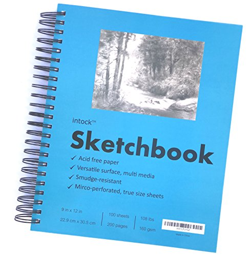 Premium Mixed Media Sketchbook For Drawing, Sketching | Side Spiral Bound | 9x12 Inch Thick Paper | Tear & Bleed Resistant Sheets | 200 Pages | Perfect For Graphite, Colored Pencils (1-pack)